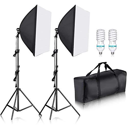 Neewer Photography Bi-color Dimmable LED Softbox Lighting Kit:20x27...