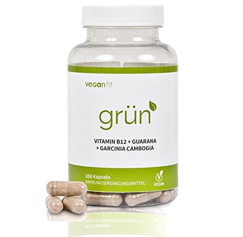 GRÜN - 100{0d807e8a52f10eec39c5193a69d73c75e3374da4f25bdb78c76dab064b1e7467} natürlicher Premium Fatburner Komplex mit Superfoods. Guarana, Grüntee-Extrakt, Grüner Kaffee Extrakt, Vitamin B12, Garcinia Cambogia | vegan | hochdosiert | made in germany