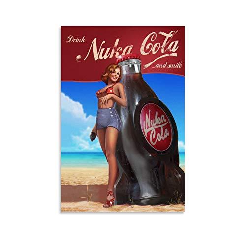 CHIYUE Kunstdruck auf Leinwand, Motiv: Nuka Cola aus Game Fallout, Vintage-Poster, 40 x 60 cm