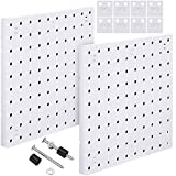 2 Pieces Pegboard Wall Mount Display Pegboard Wall Panel Kits Pegboard Organizer Accessories, 2 Installation Methods, No Damage to The Wall for Garage Kitchen Bathroom Office (White)