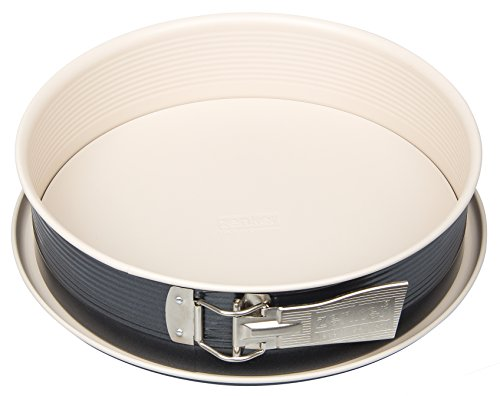 Zenker Springform Ø 26 cm CREME NOIR, Backform mit Flachboden und Auslaufschutz aus Stahlblech, runde Kuchenform mit keramisch verstärkter Antihaftbeschichtung (Farbe: Crème/Anthrazit), Menge: 1 Stück
