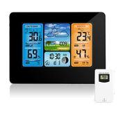 Stazione Meteo Wireless Digital Colour Forecast Stazione Meteo Indoor Outdoor Termometro con Allarme e Temperatura umidità Barometro Alarm Moon Phase Weather Clock con sensore Esterno (A)