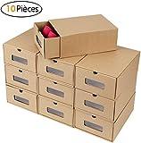MVPOWER Boîte à Chaussures en Papier Kraft Boîte de Rangement Boîte à...