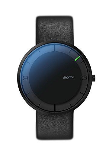 BOTTA Design NOVA Titan Unisex-Einzeigeruhr Analog Schweizer Quarzwerk mit Lederarmband 570000 (40 mm, All Black)