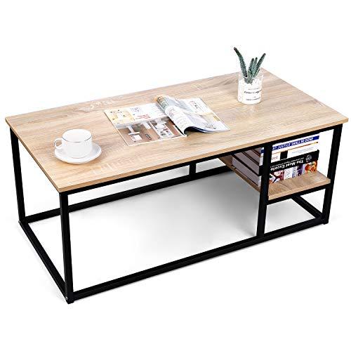 amzdeal Table Basse de Salon avec Etagère,Table de Salon en Bois Moderne avec Rangement, 102L×50W×40H cm,Table Rectangulaire avec Cadre en Métal, Robuste et Assemblage Facile,Couleur de Bois Naturel