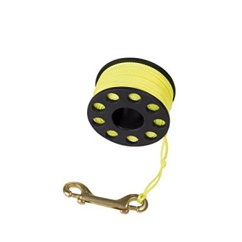 Trident Finger Reel with Brass Clip Wreck Scuba Diving Tech Spool Reel, Large 160 FT - 160' Reef Finger Reel - Yellow