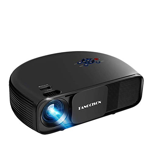"""TANGCISON Home Projector, 3300 Lumens LED Video Projector with 150"""" Projection Size, Multimedia Portable Projector Support 1080P HDMI SD USB VGA AV for Home Cinema TV Game iPhone Andriod"""