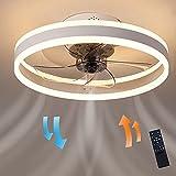 Ventilador de techo moderno con kit de luz reversible, lámpara LED con mando a distancia, montaje empotrado, 96 W, silencioso, para cocina, salón, habitación infantil (blanco)