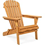 Best Choice Products Folding Wooden Adirondack Lounger Chair Accent Furniture w/Natural Finish, Brown