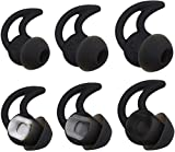 3 Pairs (S M L) Replacement Noise Isolation Silicone Earbuds/Earplug Tips for Bose Earphones Fit Bose QC20 QuietControl 3 QC30 SIE2 IE3 Soundsport Wireless Earphones (Black)