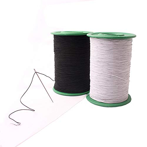 Chengyida, filo elastico bianco e nero, per accessori di tessuto, fai da te, macchina per il fai da...