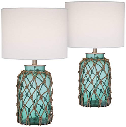 Crosby Nautical Accent Table Lamps Set of 2 Coastal Blue Green...