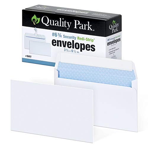 Quality Park #6 3/4 Security-Tinted Envelopes with Peel & Seal, 100-Pack, White – QUA10417