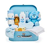Baby Shower Gifts Hamper Set – Keepsake Box in Blue with Baby Clothes, Teddy Bear and Gifts for a New Baby Boy
