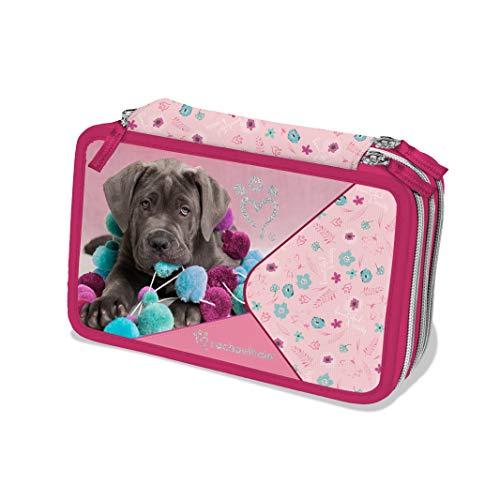 Astuccio attrezzato rosa 3 cerniere Rachael Hale - cane