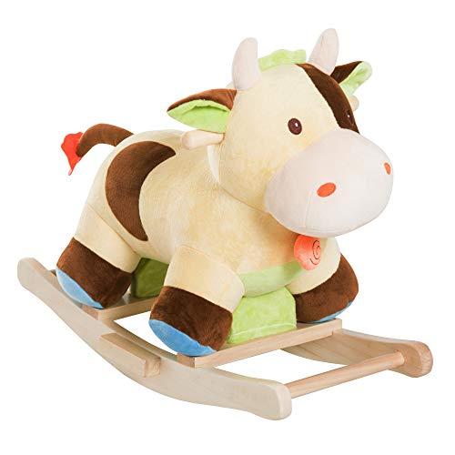 HOMCOM Kinder Schaukel Schaukeltier Schaukelpferd Schaukel Kuh Cow Spielzeug Baby Braun Gelb L60 x B34 x H46 cm