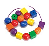 edx Education Giant Lacing Beads - Set of 48 Jumbo Beads, 6 Laces - Fine Motor Toy for Toddlers & Kids - Threading Activity for Occupational Therapists