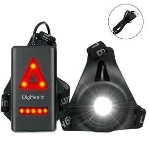 DigHealth Luz para Correr, 3 Modos LED Luz de Pecho Impermeabl con Luz de Advertencia de Seguridad Trasera, Recargable USB, 90° Haz Ajustable para Cámping Excursionismo Corriendo Ciclismo Trotar … 1