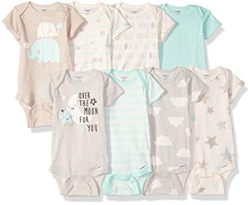 Gerber Baby 8-Pack Short Sleeve Onesies Bodysuits, Elephants,...