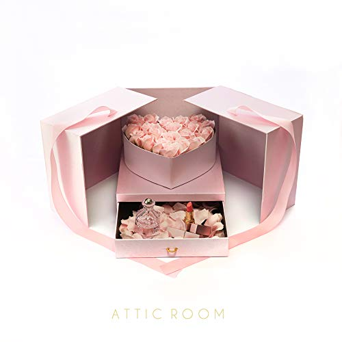 Attic Room Gift Boxes – 9.4x9.4x8.6-inches Box in Pink/Black (Pink) - DIY Valentine's Day Box – Anniversary Present Bundle – Creative Gift Box for Birthdays, Anniversary, Wedding and Valentine's Day