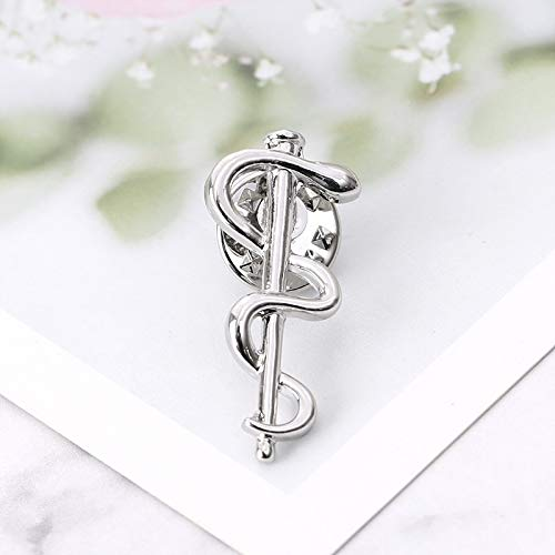 Feiren Spilla alla moda con serpente caduceo farmacia Wellness Pins medico infermiere simbolo medico distintivo (colore metallo: argento)