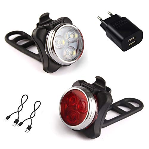 AMANKA Luci per Bicicletta, Set Luce Bici LED Light con 5V/2A Caricabatterie, 400LM, Luci Bici LED...