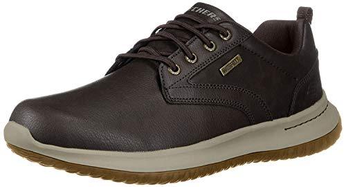 Skechers Delson-Antigo, Zapatos de Cordones Oxford Hombre, Negro (Choc Black Leather), 43 EU