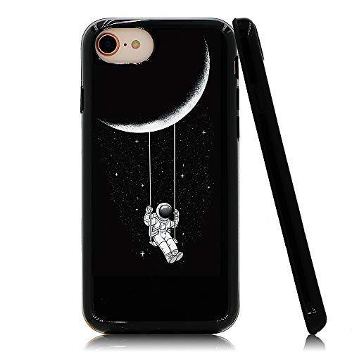 Lartin Astronaut Riding a Swing Tethered to The Moon Soft Flexible Jellybean Gel TPU Case for iPhone SE 2nd 2020 / iPhone 8 / iPhone 7 / iPhone 6S / iPhone 6