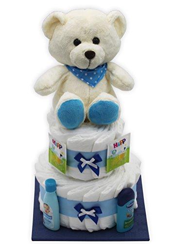 """Große Windeltorte/Windelgeschenk\""""blauer Bär\"""" für Jungen mit Teddybär - Geschenk zur Geburt + gratis Glückwunschkarte"""