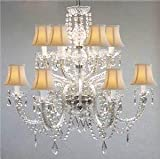 Chandelier Made with Swarovski Crystal! Murano Venetian Style All-Crystal Chandelier with White Shades!