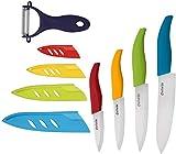 Ceramic Knives set Color Ceramic Knife Set With Sheaths - Super Sharp & Rust Proof & Stain Resistant (6' Chef Knife, 5' Steak Knife, 4' Fruit Knife, 3'Sushi Knife, One Peeler)