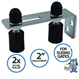 Gate Guide Adjustable - Smooth Black Nylon Double Roller & Durable Zinc Plated 90° L Wall Mounting Bracket for Sliding Gates and Rolling Doors - The Hardware Mart (20013)