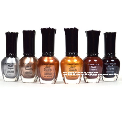 Kleancolor Nail Polish MOONRISE FEVER Silver Gold Brown Collection Lot 6 Lacquer + FREE EARRING