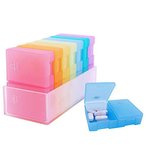 Tablettenbox 7 Tage Morgens Abends, Senders Pillendose 7 tage 2 fächer, Handlicher und Feuchtigkeitsbeständiger Medikamentenbox Medikamentendosierer Woche um Vitamin und Medikamente aufzubewahren