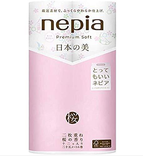 ネピア プレミアムソフト トイレットロール 日本の美 桜 12ロール ダブル (2枚重ね25m巻) 桜の香り
