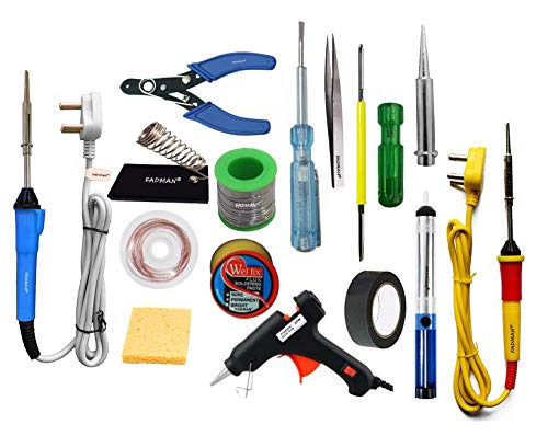 FADMAN Soldering Iron 25 W Simple - 2   Cutter   Paste   Tester   Bit   Desolder Pump   ScrewDriver   Stand   Wick   Solder Wire   Tweezer   Glue Gun 20W Black   Sponge   Tape  