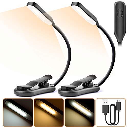 2 PCS Lampe de Lecture, TESECU Liseuse Lampe 7 LED (Blanc Froid&Jaune...