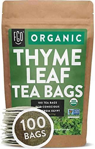 Organic Thyme Leaf Tea Bags   100 Tea Bags   Eco-Conscious Tea Bags in Kraft Bag   by FGO