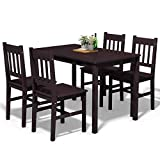 Giantex 5 Piece Wood Dining Table Set 4 Chairs Home Kitchen Breakfast Furniture (Brown)