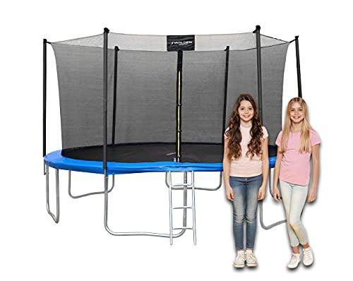 Trampolin Outdoor, Trampolin mit Sicherheitszaun und Gepolsterte Stangen für Kinder Indoor Outdoor...