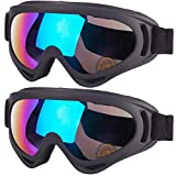 2-Pack Snow Ski Goggles, Snowboard Goggles for Men, Women, Youth, Kids, Boys or Girls