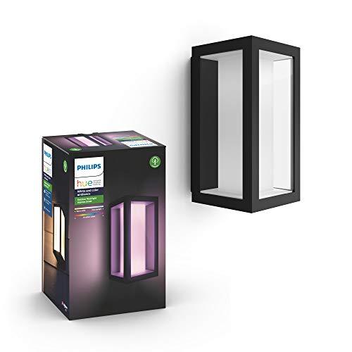 Philips Hue Impress Aplique exterior negro LED inteligente, luz blanca y de colores, compatible con Amazon Alexa, Apple HomeKit y Google Assistant
