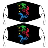 BMX Cycling Mountain Bike Kids Face Mask Set of 2 with 4 Filters Washable Reusable Adjustable Black Cloth Bandanas Scarf Neck Gaiters for Adult Men Women Fashion Designs