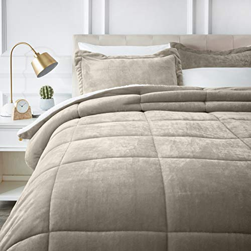 AmazonBasics Ultra-Soft Micromink Sherpa Comforter Bed Set, Full or Queen, Taupe - 3-Piece