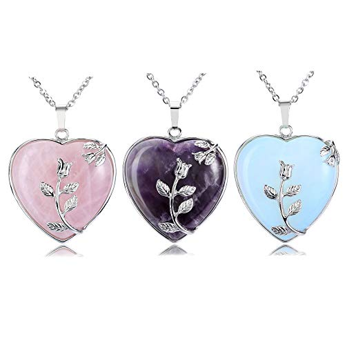 Top Plaza Natural Healing Crystals Heart Pendant Necklaces...