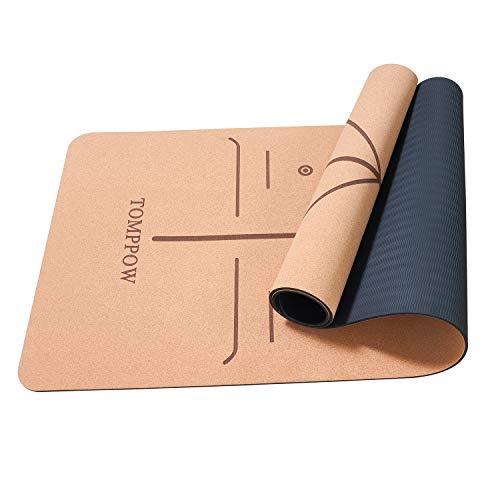 TOMPPOW Yogamatte Kork– rutschfest – 100{cec82314c90f871da14a77826f04a6a6597cbd6e7ab719c85c59fa30ccfdc0fc} natürlich Yoga Mat Cork für Gymnastik Pilates Yoga–183 x 62 cm, 6 mm stark