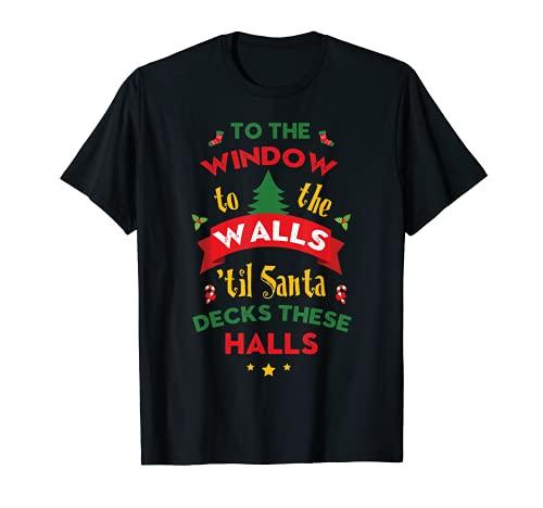Para la ventana a las paredes de Santa Decks estas salas de Navidad Camiseta