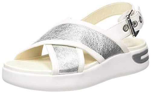 Geox D OTTAYA Sandal A, Sandalias de Talón Abierto para Mujer, Plateado (Silver/White C0434), 41 EU