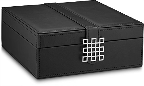 Product Image 4: Glenor Co Classic 50 Slot Jewelry Box Earring Organizer with Large Mirror, Black