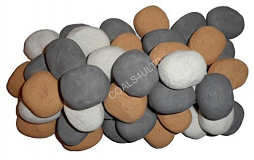 Coals 4 You 20 Gas Fire Replacement Ceramic Pebbles Replacements/Bio Fuels/Ceramic/Boxed/Lot of colours (Mixed white/grey/beige) IN BRANDED COALS 4 YOU PACKING
